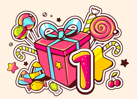 Vector illustration of gift box and confection with number one on light background with star and dot. Hand drawn line art design for web, site, advertising, banner, poster, board and print.