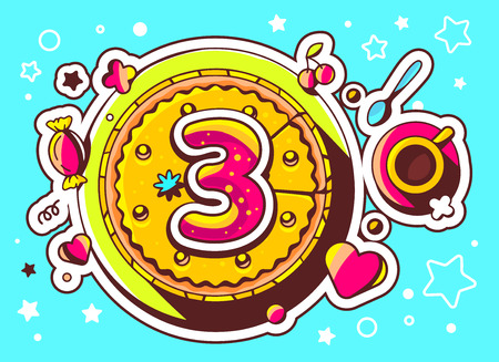 third birthday: Vector illustration of cake with sweets and cup of tea with number three on blue background with star and heart. Hand drawn line art design for web, site, advertising, banner, poster, board and print.