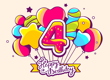 Vector illustration of festive bunch of colorful striped balloons with ribbon and text happy birthday with number four on light background. Hand drawn line art design for web, site, advertising, banner, poster, board and print.