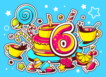 sixth: Vector illustration of cake with candle, sweets and cup of tea with number six on blue background with star and heart. Hand drawn line art design for web, site, advertising, banner, poster, board and print.