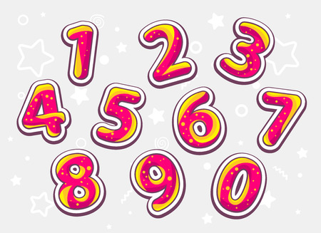 sixth birthday: Vector festive red and yellow set of numbers on light pattern background. Hand drawn line art design for web, site, advertising, banner, poster, board and print.