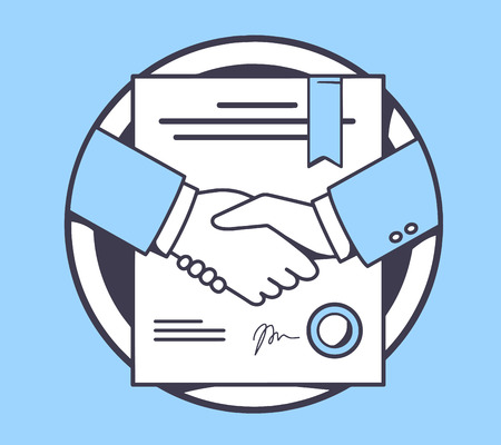 formal signature: Vector illustration of handshake with contract signed and sealed on blue background. Hand draw line art design for web, site, advertising, banner, poster, board and print.