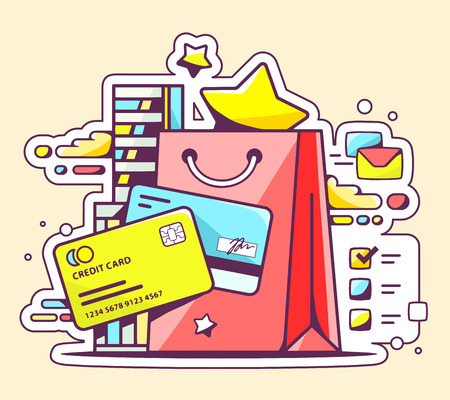 cashless: Vector color illustration of online cashless payment via credit cards on yellow background. Hand draw line art design for web, site, advertising, banner, poster, board and print.