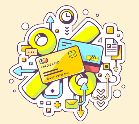 Vector colorful illustration of percentages on  credit cards on yellow background. Hand draw line art design for web, site, advertising, banner, poster, board and print. Ilustração