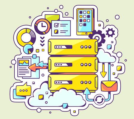 밝은 배경에 서버 작업의 벡터 컬러 일러스트 레이 션. 웹, 사이트, 광고, 배너, 포스터, 보드 및 인쇄에 대 한 손으로 그린 라인 아트 디자인.