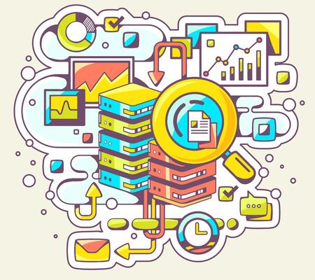 Vector Farbe Illustration von Suchmaschinen auf hellem Hintergrund. Hand draw line art Design für Web, Website, Werbung, Banner, Poster, Vorstand und drucken.