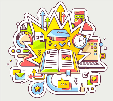 conocimiento: Vector ilustraci�n colorida de la educaci�n con el libro abierto y la tapa de posgrado sobre fondo claro. Dise�o de la l�nea de arte drenaje de la mano para la web, web, publicidad, bandera, cartel, bordo y de impresi�n.