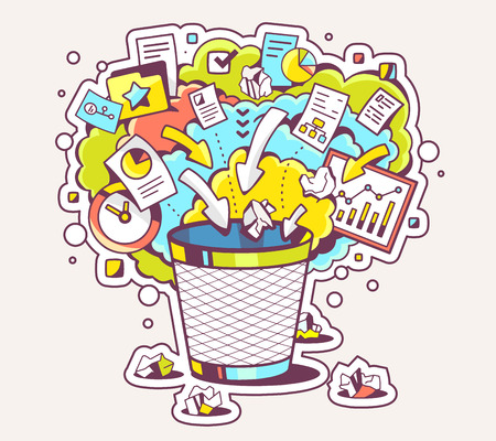 useless: Vector colorful illustration of office trash can and documents on light background. Hand draw line art design for web, site, advertising, banner, poster, board and print.