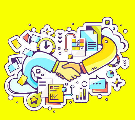 Vector colorful illustration of handshake with documents and graphs on yellow background. Hand draw line art design for web, site, advertising, banner, poster, board and print.