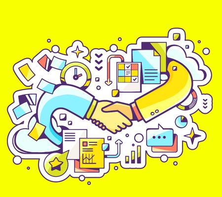 Vector colorata illustrazione della stretta di mano con i documenti e grafici su sfondo giallo. Art design Mano disegnare line per il web, sito, la pubblicità, banner, manifesti, bordo e stampare. Archivio Fotografico - 41323642