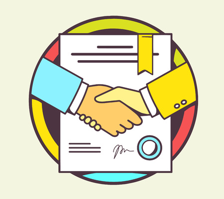 formal signature: Vector color illustration of handshake with contract signed and sealed on yellow background. Hand draw line art design for web, site, advertising, banner, poster, board and print. Illustration