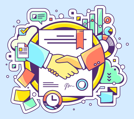 contracts: Vector color illustration of handshake with contract signed and sealed and graphs on blue background. Hand draw line art design for web, site, advertising, banner, poster, board and print.