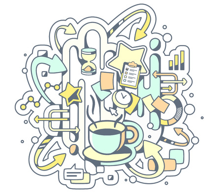 coffe break: Vector color illustration of coffe break and office work on light background. Hand draw line art design for web, site, advertising, banner, poster, board and print. Illustration