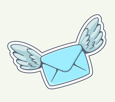 love message: Vector illustration of blue envelope with wings flying on gray background. Hand draw line art design for web, site, advertising, banner, poster, board and print.