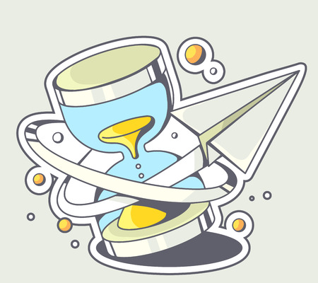 passing over: Vector illustration of paper plane flying around a blue sandglass on gray background. Hand draw line art design for web, site, advertising, banner, poster, board and print.