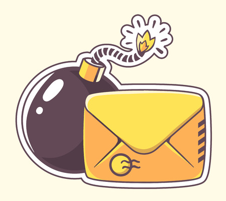 email bomb: Vector illustration of yellow envelope with bomb on color background. Hand draw line art design for web, site, advertising, banner, poster, board and print. Illustration
