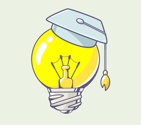 색 배경에 졸업 모자와 함께 노란색 전구의 벡터 일러스트 레이 션. 웹, 사이트, 광고, 배너, 포스터, 보드 및 인쇄에 대 한 손으로 그린 라인 아트  일러스트