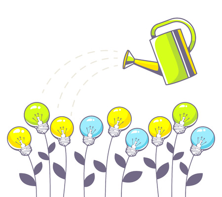 business environment: Vector illustration of growing color lightbulbs and green watering can on white background. Hand draw line art design for web, site, advertising, banner, poster, board and print. Illustration