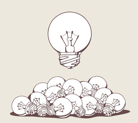 science symbols metaphors: Vector illustration of white big lightbulb above pile of small lightbulbs on gray background. Hand draw line art design for web, site, advertising, banner, poster, board and print.