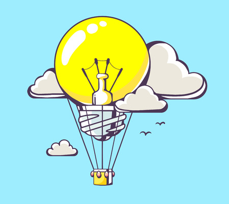 work environment: Vector illustration of flying yellow lightbulb air balloon on blue background with clouds. Hand draw line art design for web, site, advertising, banner, poster, board and print.