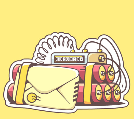 email bomb: Vector illustration of envelope with red dynamite on yellow background. Hand draw line art design for web, site, advertising, banner, poster, board and print. Illustration