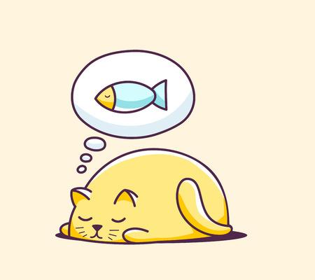 노란색 배경에 색 자 문자 고양이의 그림입니다. 웹 사이트, 광고, 배너, 포스터, 보드, 인쇄 및 카드 손으로 그리는 라인 아트 디자인입니다. 일러스트