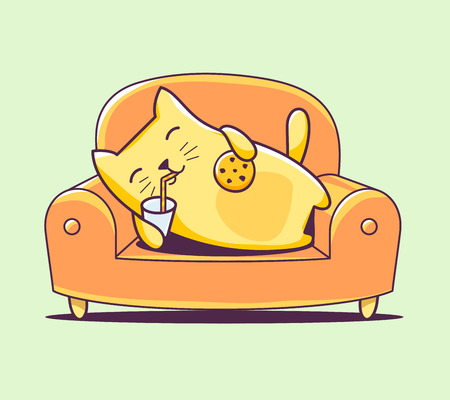 biscuits: illustration of color character cat lying on the sofa with milk and cookies on green background. Hand draw line art design for web, site, advertising, banner, poster, board, print and card.