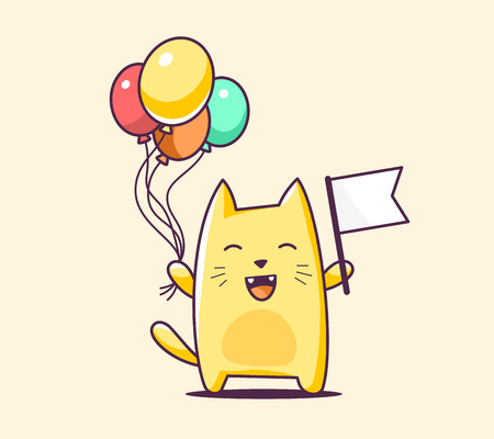 pets: illustration of color character cat with flag and balloons on yellow background. Hand draw line art design for web, site, advertising, banner, poster, board, print and card. Illustration