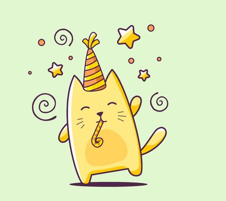 녹색 배경에 모자와 폭발 색상 행복 문자 고양이의 그림입니다. 웹 사이트, 광고, 배너, 포스터, 보드, 인쇄 및 카드 손으로 그리는 라인 아트 디자인입