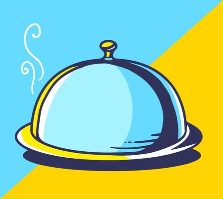 illustration of bright tray with lid on blue and yellow background. Hand drawn line art design for web, site, advertising, banner, poster, board and print. Illustration