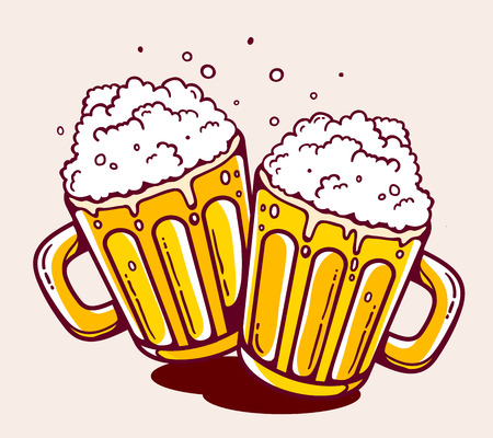 illustration of bright two beer mugs on yellow background. Hand drawn line art design for web, site, advertising, banner, poster, board and print. 일러스트