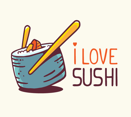 delicacy: illustration of great blue green sushi with title i love sushi on white background. Hand drawn line art design for web, site, advertising, banner, poster, board and print.