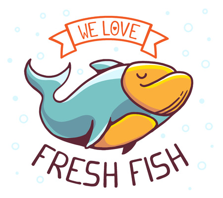 illustration of great blue green fish with title we love fresh fish on white background with bubbles. Hand drawn line art design for web, site, advertising, banner, poster, board and print. Illustration
