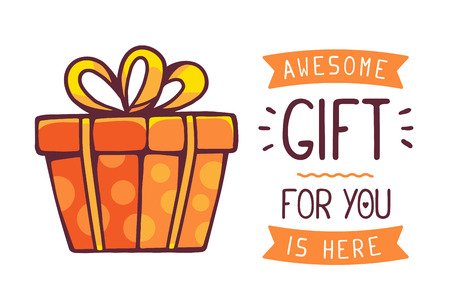 illustration of great red gift box with title awesome gift for you is here on white background. Hand drawn line art design for web, site, advertising, banner, poster, board and print. Иллюстрация