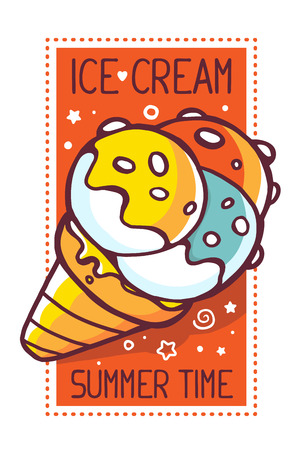 time frame: illustration of great yellow ice cream with title ice cream summer time on white background with red frame. Hand drawn line art design for web, site, advertising, banner, poster, board and print.