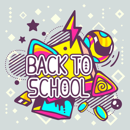 Vector illustration of colorful back to school quote on abstract background. Hand draw line art design for web, site, advertising, banner, poster, board and print. Ilustração