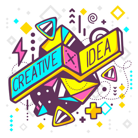 fun: Vector illustration of bright creative and idea quote on abstract background. Hand draw line art design for web, site, advertising, banner, poster, board and print.