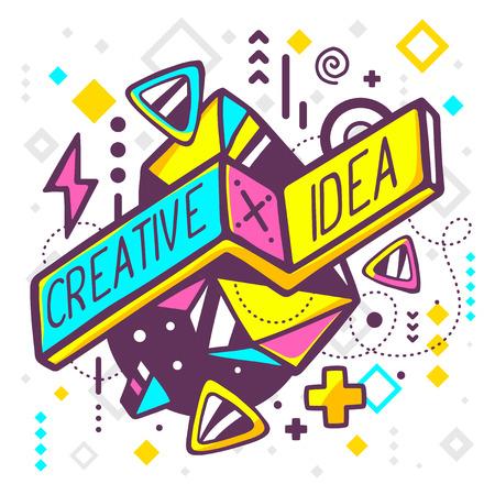 abstrakt: Vektor illustration av ljusa kreativa och idé offert på abstrakt bakgrund. Hand rita fodrar konstdesign för webben, plats, reklam, banderoll, affisch, styrelse och skriva ut.