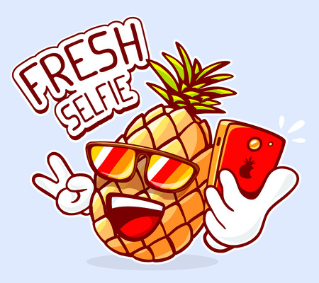 crazy cartoon: Vector illustration of colorful hipster pineapple with sunglasses taking selfie on blue background. Hand draw line art design for web, site, advertising, banner, poster, board and print.