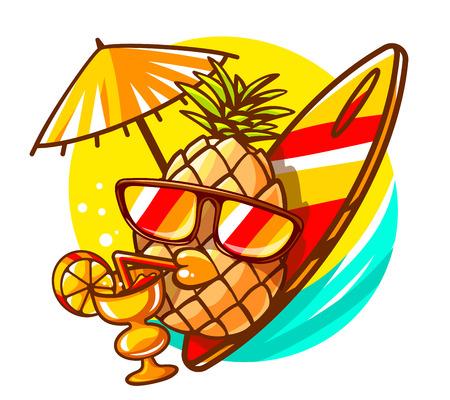 Vector illustratie van kleurrijke gele hipster ananas met zonnebril, surfplank en cocktail op zonnige zee achtergrond. De hand trekt lijntekeningen ontwerp voor het web, website, reclame, banner, poster, karton en print.