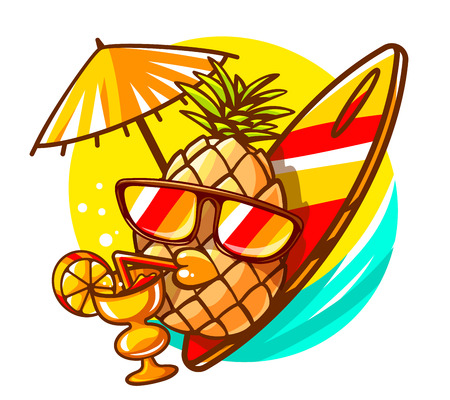 Vector illustration of colorful yellow hipster pineapple with sunglasses, surfboard and cocktail on sunny sea background. Hand draw line art design for web, site, advertising, banner, poster, board and print. Иллюстрация