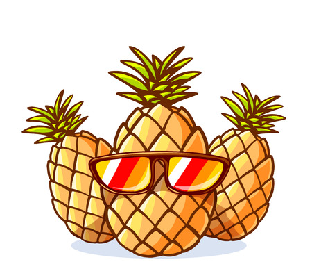 Vector illustration of colorful yellow hipster pineapples with sunglasses on white background. Hand draw line art design for web, site, advertising, banner, poster, board and print. Illustration