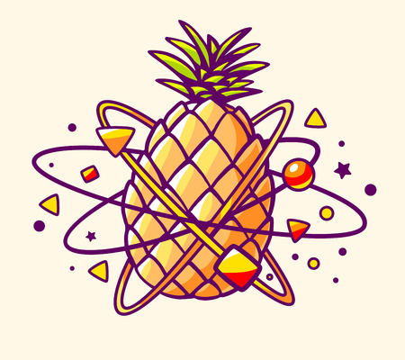 Vector illustration of colorful yellow pineapple with elements and particles on light background. Hand draw line art design for web, site, advertising, banner, poster, board and print. Illustration