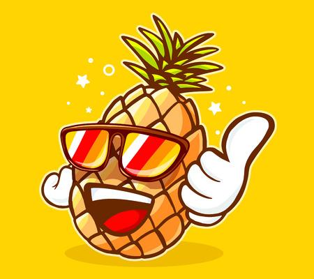 선글라스와 노란색 배경에 엄지 손가락 다채로운 hipster 파인애플의 벡터 일러스트 레이 션. 웹, 사이트, 광고, 배너, 포스터, 보드 및 인쇄에 대 한 손으