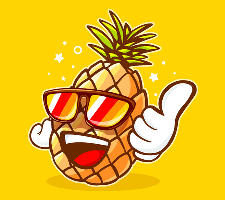 Vector illustration of colorful hipster pineapple with sunglasses and thumb up on yellow background. Hand draw line art design for web, site, advertising, banner, poster, board and print. Stock Illustratie