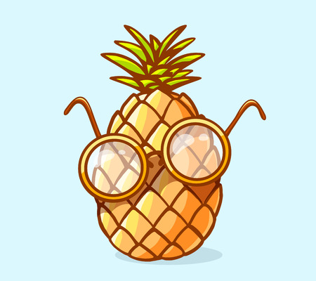 Vector illustration of colorful nerd pineapple with glasses on blue background. Hand draw line art design for web, site, advertising, banner, poster, board and print. Illustration