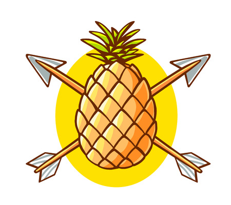 pierced: Vector illustration of colorful yellow pineapple pierced by two arrows on white background. Hand draw line art design for web, site, advertising, banner, poster, board and print.