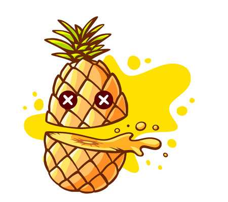 pineapple juice: Vector illustration of colorful pineapple cut in half with eyes and yellow spot on white background. Hand draw line art design for web, site, advertising, banner, poster, board and print.