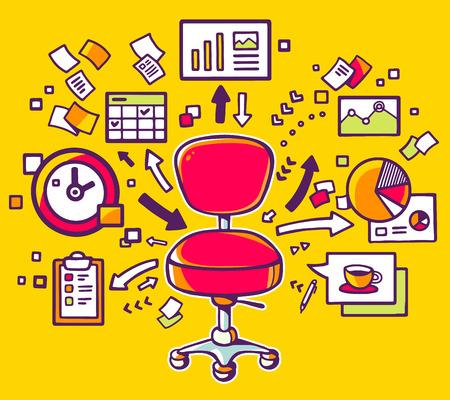 ドキュメントと黄色の背景に金融チャートの赤のオフィスの椅子のベクター イラストです。手は web、サイト、広告、バナー、ポスター、掲示板およ