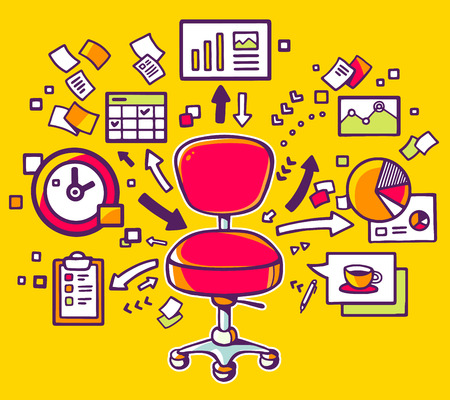 Vector illustration of red office chair with documents and financial charts on yellow background. Hand draw line art design for web, site, advertising, banner, poster, board and print.
